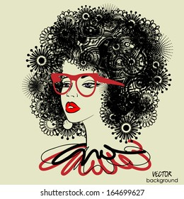 art sketched beautiful girl face with curly floral ornamental hair and glasses in vector