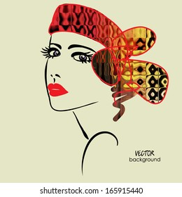 art sketched beautiful girl face with headscarf in art-deco style, in vector