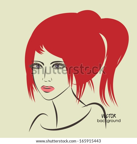 Art Sketched Beautiful Girl Face Ponytail Stock Vector Royalty Free