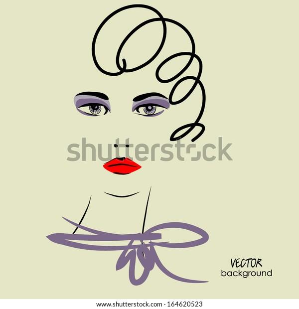 Art Sketched Beautiful Girl Face Short Stock Vector Royalty