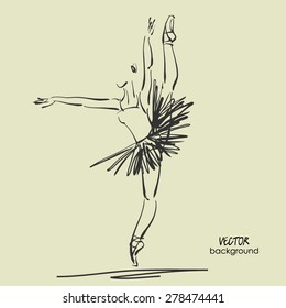 art sketched beautiful young ballerina with tutu high raised her leg in pose of dance. Vector illustration
