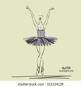 art sketched beautiful young ballerina with tutu turned her back and welcomes viewers. Vector illustration