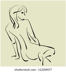 art sketching beautiful sitting with her back topless young  sexy woman