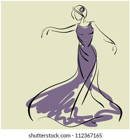 art sketching of beautiful young  bride in dance. Sketchy vector with space for text.