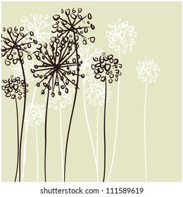 art sketching floral vector background with space for text