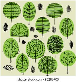 art sketching set of vector trees symbols