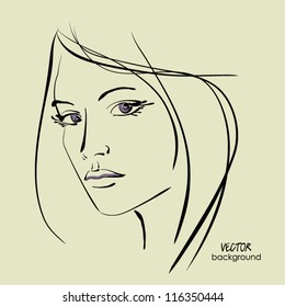 art sketching vector beautiful melancholy girl face symbols