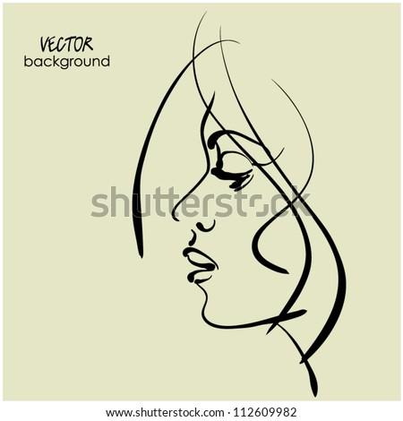 art sketching vector girl profile face stock vector royalty free