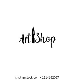 Art store lettering logo isolated design. Craft shop sign with calligraphic pen, brush font. Black metal laser cut sign. Ccreativity logotype for store layout or branding. Isolated vector