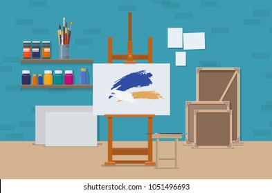 Art studio interior with artistic tools, easel and canvas. Artists creative space. Vector illustration