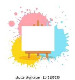 Art studio interior colorful vector illustration. Painter artist workshop room with tools: canvas, easel on watercolor splash background. Drawing creative materials illustration for workshops designs