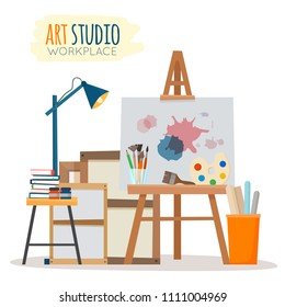 Art studio interior. Creative workshop room with canvas, paints, brushes, easel and pictures. Design salon for artists. Flat cartoon style vector illustration.