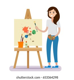 Art studio interior. Woman artist drawing. Creative workshop room with canvas, paints, brushes, easel and pictures. Design salon. Flat style vector illustration.