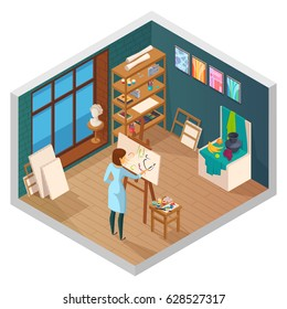 Art studio isometric interior of classroom with window shelves paintings and female painter character at work vector illustration