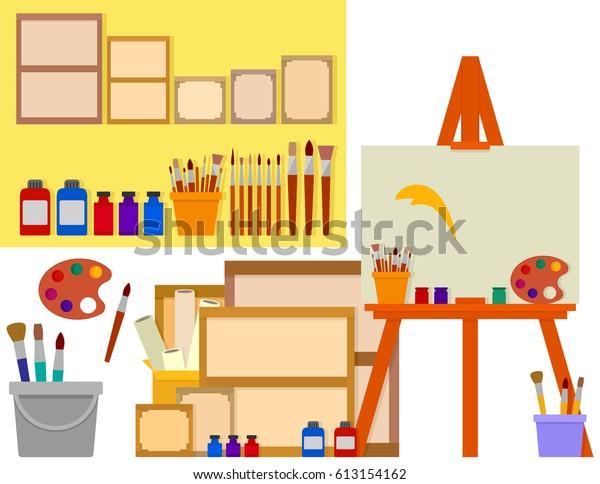 Image Vectorielle De Stock De Atelier Dart Sur Le Dessin à