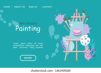 Art studio painting course Vector flat style. Page template online creativity courses