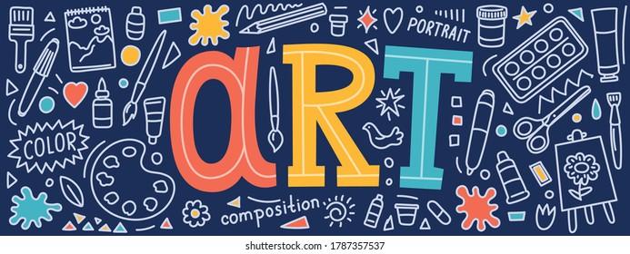Art studio. School subject banner. Hand drawn doodles and lettering.
