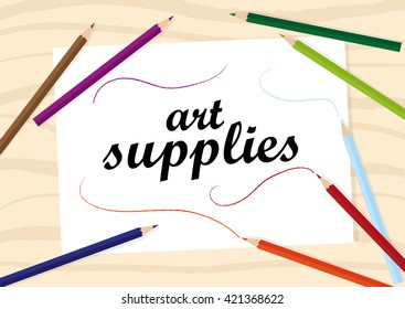 Art supplies with blank paper
