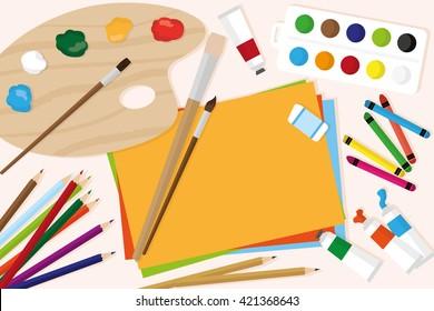 Art supplies flat vector