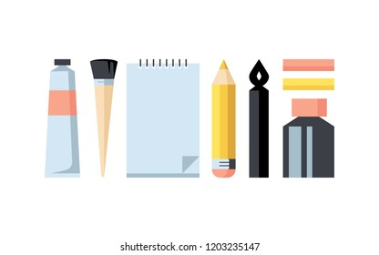Art supplies. Paint tube, brush, sketchbook, pencil, graphic pen, pastels, ink. Colorful flat design vector illustration set of icons isolated on bright stylish background