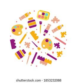 Art Supplies of Round Shape, Kids Education, Art, Craft, Creativity Class, School Design Cartoon Vector Illustration