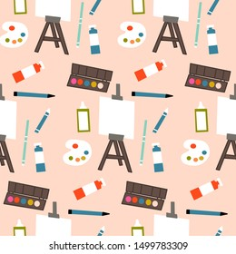 Art supplies in a seamless pattern design, perfect to use on the web or in print, for surface design