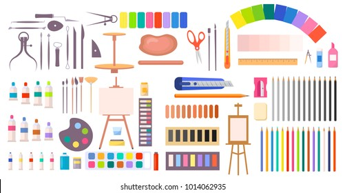 Art supplies vector illustration with icons of easel, different brushes, various paints and tools and instruments for painting and handmade in cartoon style