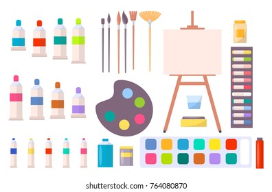 Art supplies vector illustration with icons of easel, different brushes, various paints and other tools and instruments for painting in cartoon style