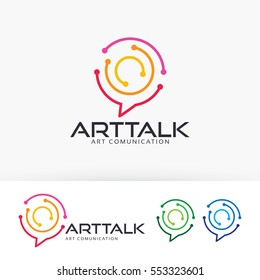 Art Talk, abstract, technology, design, blog, art, studio, network, internet, digital. Vector logo template