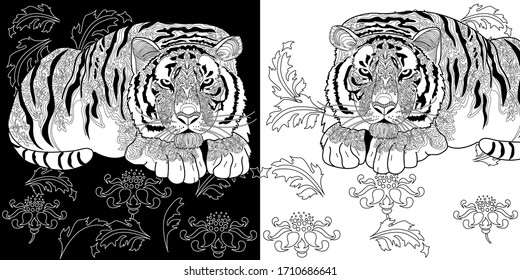 Art therapy coloring page. Coloring Book for adults and children. Colouring pictures with tiger. Antistress freehand sketch drawing with doodle and zentangle elements.