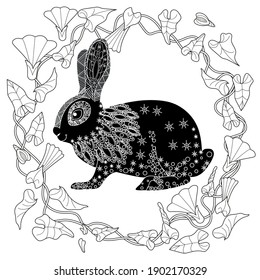 Art therapy coloring page. Coloring Book for adults and children. Colouring pictures with rabbit. Antistress freehand sketch drawing with doodle and zentangle element