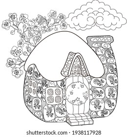 Art therapy coloring page. Colouring pictures with house. Linear engraved art. Romantic concept. Antistress freehand sketch drawing with doodle and zentangle elements.
