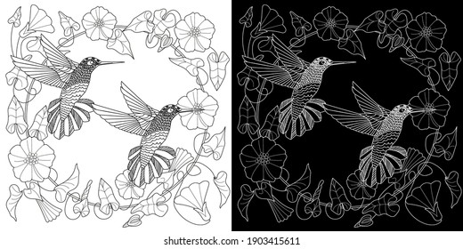 Art therapy coloring page. Cute wreath with flowers and hummingbird. Vector illustration in vintage style. Linear engraved art. Bird concept. Romantic concept.