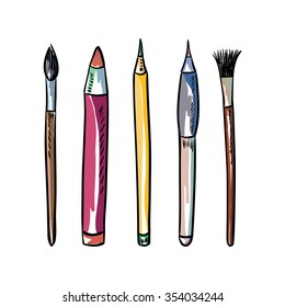 Art tools. Brushes and pencils.