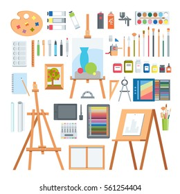 Art tools flat painting icons vector set. Different artistic designers elements isolated on white.  Creative person equipments