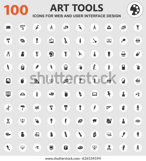 Art Tools Icons Web User Interface Stock Vector Royalty Free 626534594