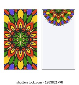 Art traditional, Islam, Arabic, Indian, magazine, elements with mandala. Set of two flyer pages ornament illustration concept. Vector greeting card or invitation layout design. Multicolor.