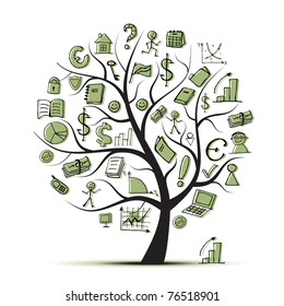 Art tree concept with business icons for your design