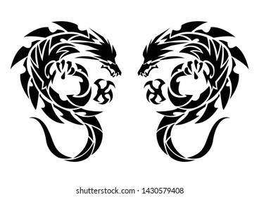 Art of two dragons.Tribal dragons for tattoo.