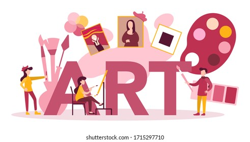 Art typographic header concept. Male and female artist standing in front of big easel or screen, holding a brush and paints. Artist painting. Isolated flat vector illustration