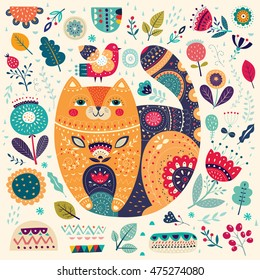 Art vector colorful illustration with beautiful cat, bird and flowers. Art poster for decoration your interior and for use in your unique design