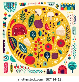Art vector colorful illustration with pizza and other elements. Art poster.