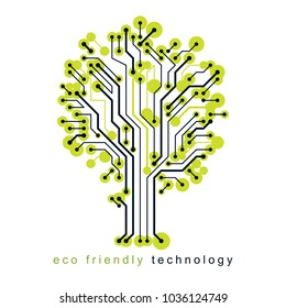 Art vector graphic illustration of modern digital tree, technology innovation abstract design. Renewable resources idea.