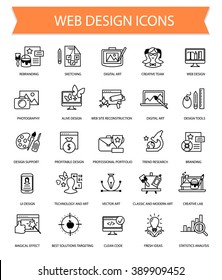 Art, web design and graphics flat thin line icon set collection, creative agency icon collection, artwork vector lined complicated icons