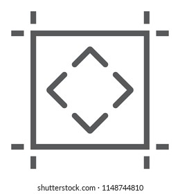 Artboard line icon, tools and design, board sign, vector graphics, a linear pattern on a white background, eps 10.