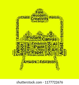 artboard word cloud. word cloud of artboard shape can be use for blog.