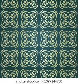 Art-deco vintage seamless geometric pattern. Vector illustration. Royald color.