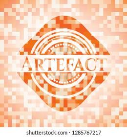 Artefact abstract orange mosaic emblem