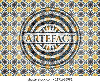 Artefact arabesque emblem background. arabic decoration.