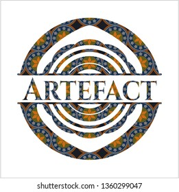 Artefact arabic badge. Arabesque decoration.